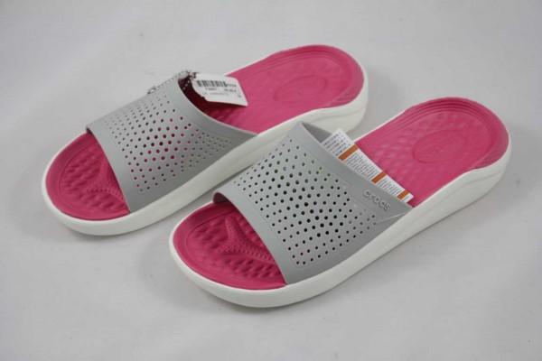 Crocs LiteRide™ Slide Pantolette Damen grau pink