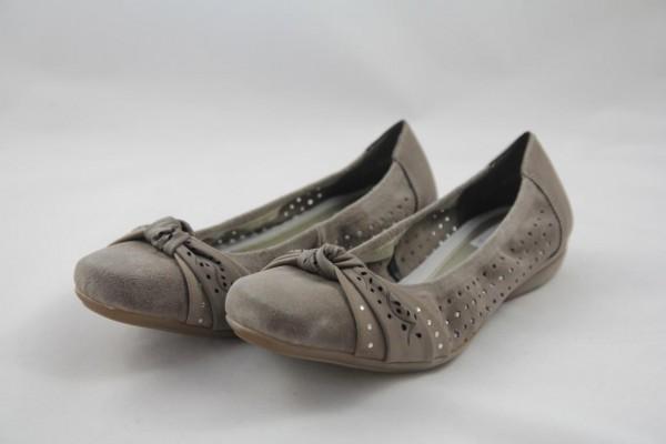 Rieker L8356-65 Ballerina Damen beige Velourleder