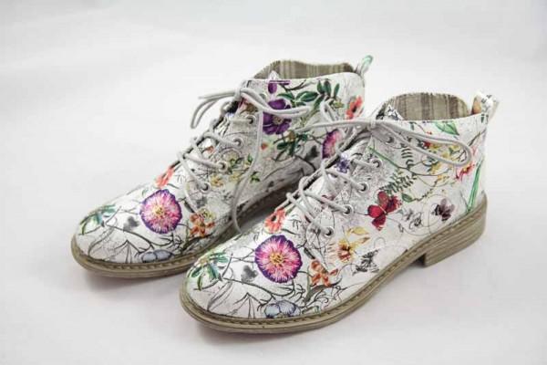 Rieker Stiefelette weiß Blumenprint Damen L2130-90 schnür