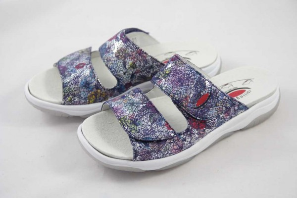 Gabor Rollingsoft Pantolette Flower Leder Wechselfußbett