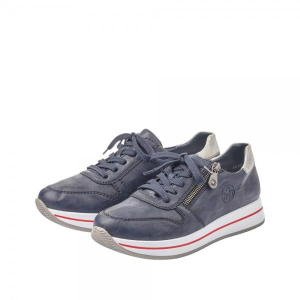 Rieker N4530-14 Damen Schnürhalbschuhe Sneaker blau