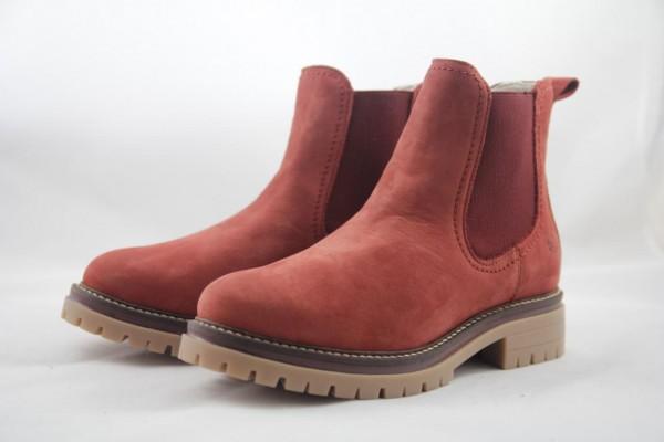 Tamaris Chelsea Boots Stiefelette Nubukleder brick rot