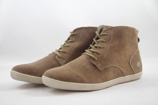 Dockers Damen hohe Sneakers Schnürstiefelette Velour stone dunkelbeige